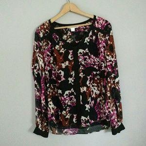 DVF Diane Von Furstenberg Silk Blouse Floral 6